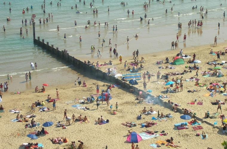 Crowded Bournemouth beach