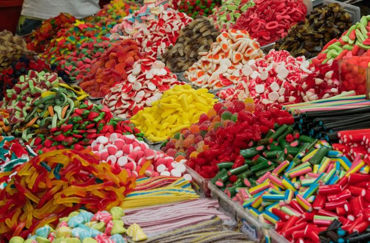 Market stall of sugary sweets