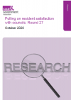 A cover of the resident satisfaction october 2020 document, white background with a magnifying glass for decorative purposes