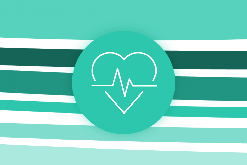 Re-thinking local: public health - green stripes on a white background with a green icon of a heart in the foreground