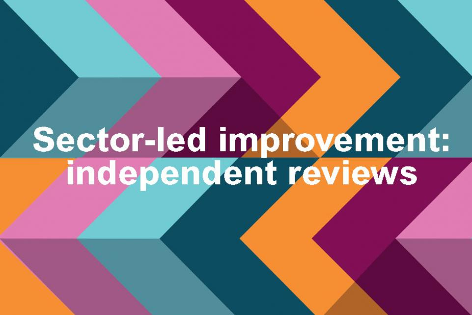 "multi coloured background in an arrow like pattern with the text 'Sector-led improvement: independent reviews"" in white"