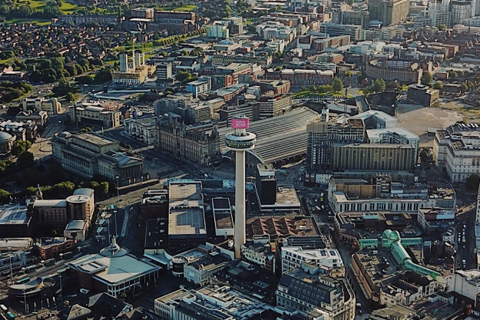 Ariel shot of Liverpool city centre