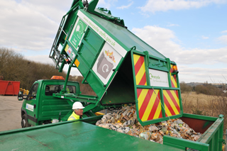 Lorry delivering food waste