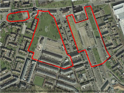 Photo of map pf the Griffin site cleared