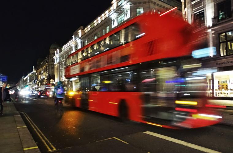 London bus in motion