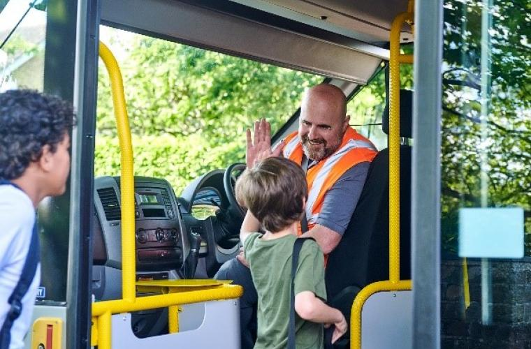 Ugobus driver Essex CC with kid