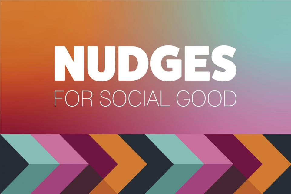 Nudges for social good is written on top of a colourful background