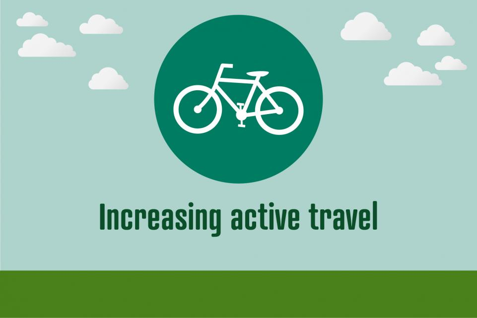 Image of bike icon with text below reading 'increasing active travel'