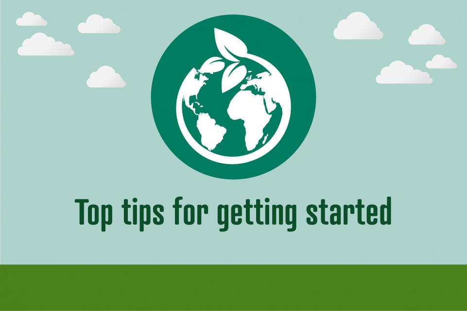 Image of world icon with text below reading 'top tips for getting started'