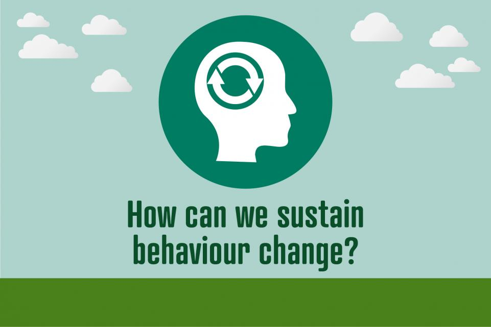Image of icon with head and recycling sign where the brain should be, with text reading 'how can we sustain behaviour change'