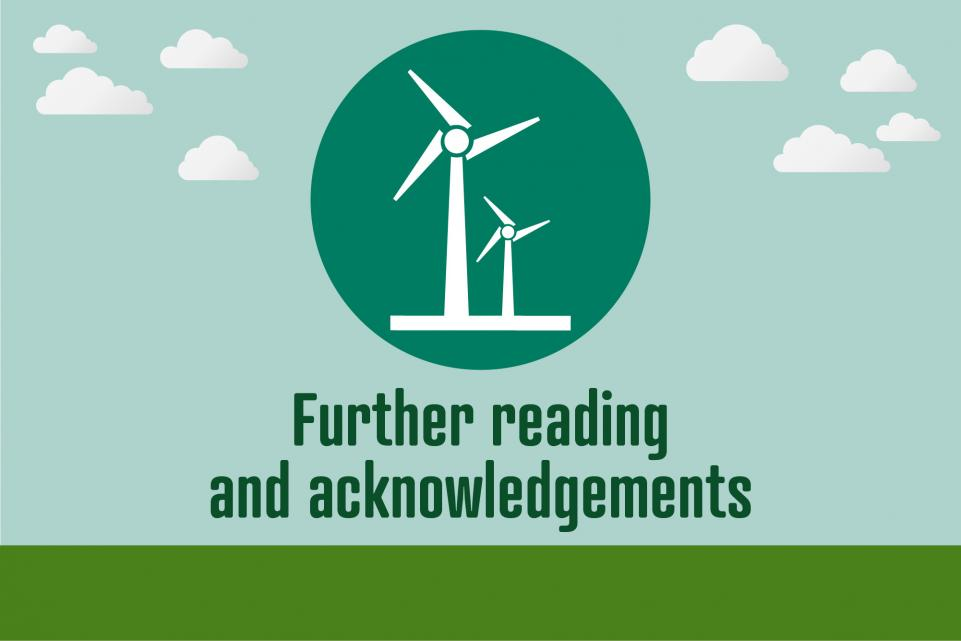 Image of windmills icon with text below reading 'further reading and acknowledgements'