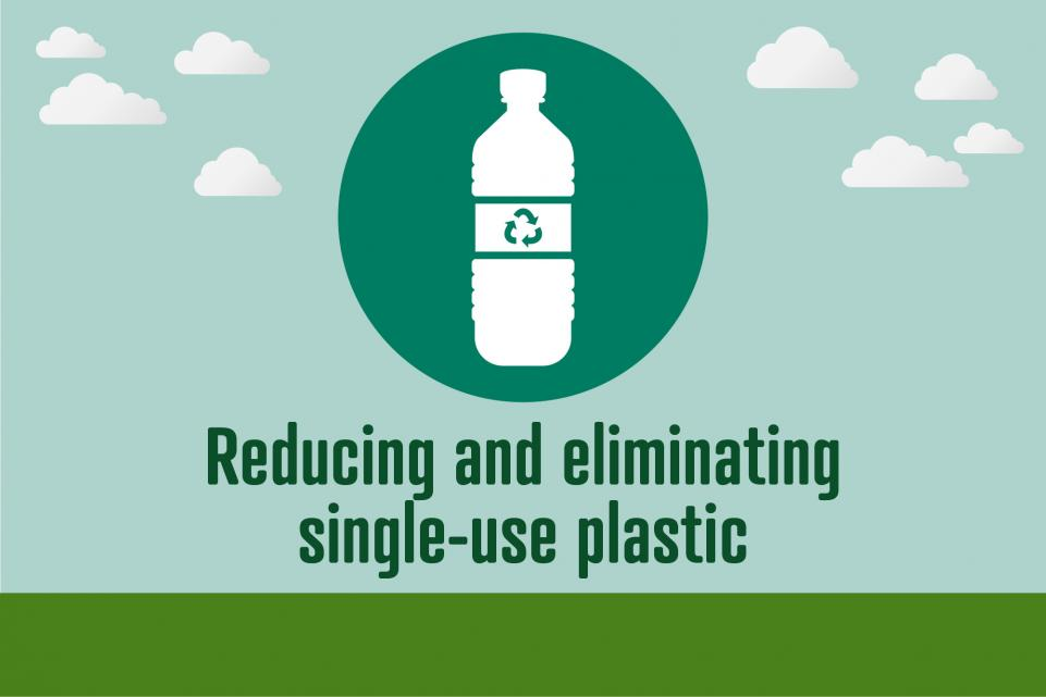 Picture of plastic bottle icon with text below reading 'reducing and eliminating single-use plastic'