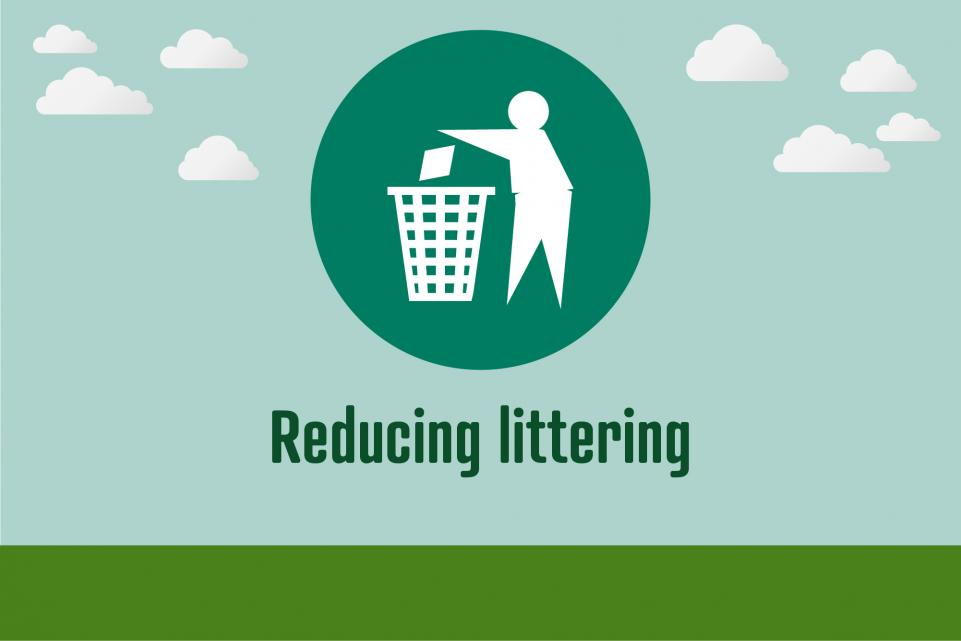 Picture of littering icon with text beneath it reading 'reducing littering'