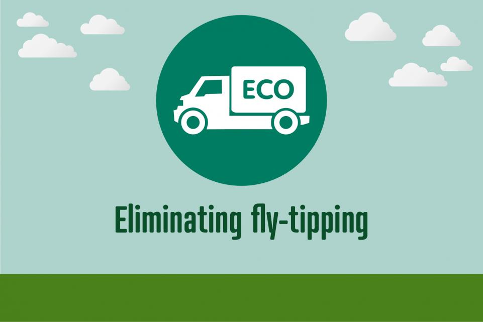Image of icon with van, with text below reading 'eliminating fly-tipping'