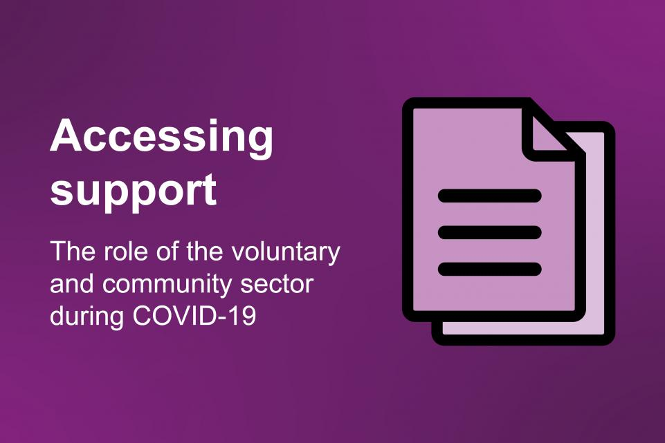 A purple image with two stylised documents and the copy 'Accessing support: the role of the voluntary and community sector during COVID-19'