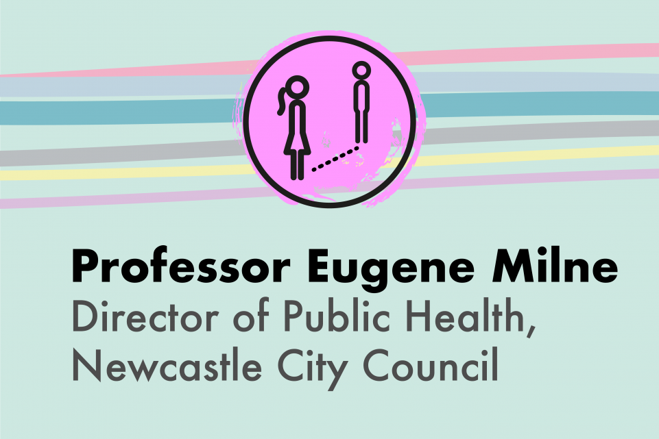 A light green image with a purple icon showing two people social distancing and the copy Professor Eugene Milne, Newcastle City Council Director of Public Health