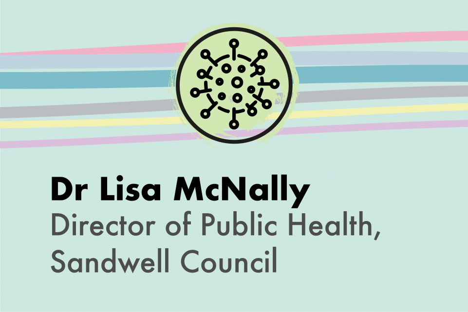 Light green image with an icon of a coronavirus and the copy Dr Lisa McNally, Director of Public Health, Sandwell Council