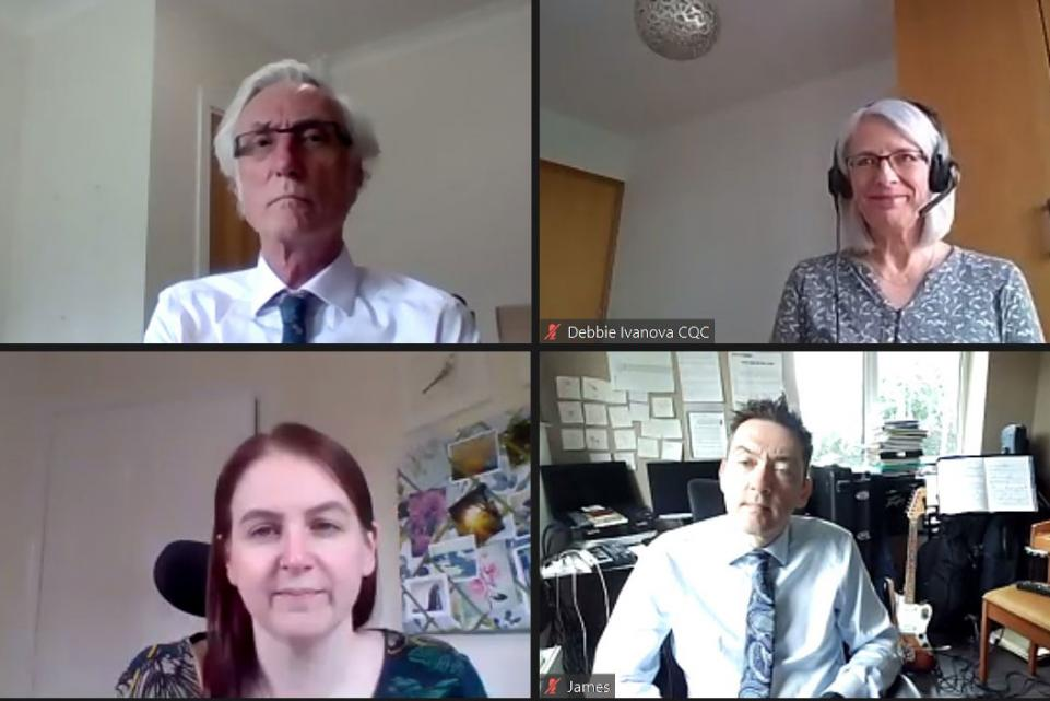 A screenshot of four of the speakers from the webinar