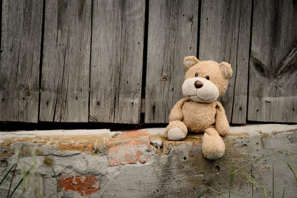 Teddy bear on side of road