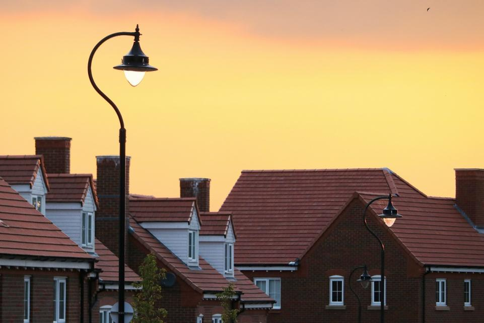 Housing estate in the sun set